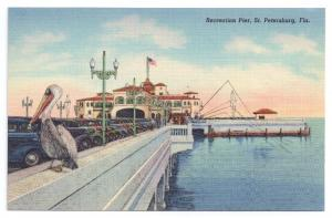St Petersburg Florida Recreation Pier Pelican Curteich Linen 1939 FL Postcard