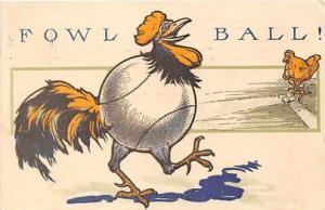 Base Ball, Baseball, Comic postcard