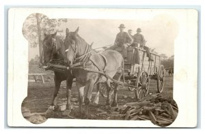 Postcard Horse Drawn Wagon, Fire Wood/Lumber w/ Cattle RPPC L24