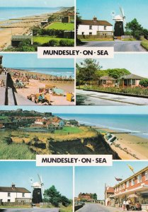 Mundesley On Sea Beach Shops Parade 2x Norfolk Postcard s