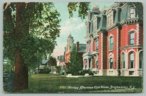 Binghamton New York~Monday Afternoon Club House~Fence Along Lawn~1907 Postcard