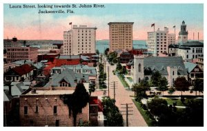 Florida  Jacksonville , Laura Street, Aerial view towards St.Johns river