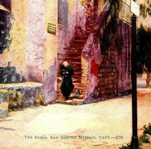 The Steps San Gabriel Mission California vintage postcard prayer Bible walk