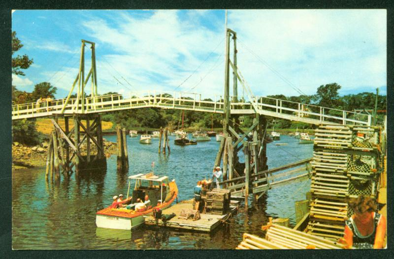 MAINE PERKINS COVE Ogunquit Harbor Fishing Boats Bridge Lobster Traps Postcard