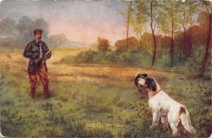 After Quail Bird Dog Brings Fowl to Hunter~Spaniel~Man With Gun~Artist 1908