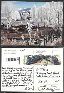 1988 Chile Winter time in Lonquimay, mailed to USA