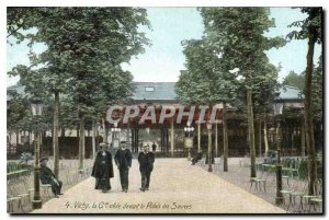 Old Postcard Vichy Grande Allee front of the Palais des Sources