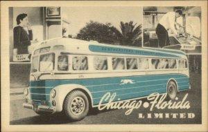 Art Deco Bus Adv Chicago-Florida Ltd SE Greyhound Lines Map on Back Postcard