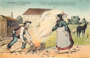 French legends comic postcard LEGENDE DE ST-SAULGE Les lapins ( The rabbits )