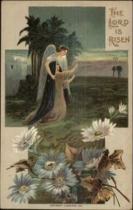 Easter - Angel & Woman in Cross Border J. Baumann 1910 Postcard