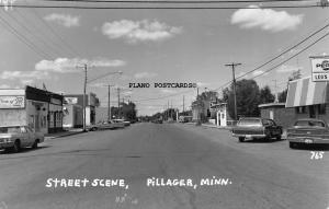 PILLAGER, MINNESOTA STREET SCENE RPPC REAL PHOTO POSTCARD