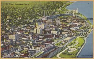 Davenport, Iowa, Air View of downtown along the Mississippi-