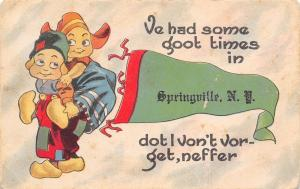 Some Goot Times in Springville New York~Piggy Back Ride~1914 Pennant Postcard