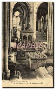 Old Postcard Abbaye De Saint Denis Tombeoux The Nave From Left