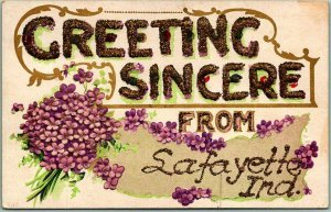 1910s Greeting Sincere from LAFAYETTE Indiana Embossed Postcard Flowers GLITTER