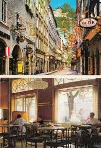 Salzberg Cafe Bazar Old Town Pubs 2x Austria Postcard s