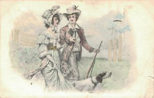 Happy couple with a dog Litho 02.98