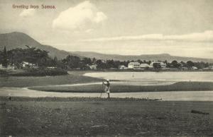samoa, Panorama with Houses (1910s) Postcard