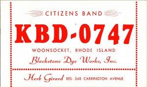 QSL Radio Card From Woonsocket Rhode Island KBD-0747