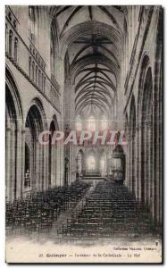 Old Postcard Quimper Interior of the Cathedral Nave