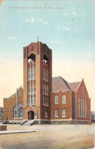 El Paso Texas~First Presbyterian Church~1909 Postcard