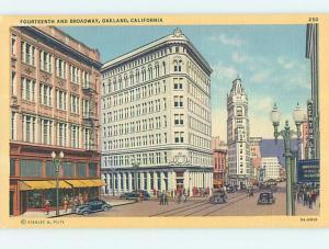 Linen OLD CARS & SHOPS ON STREET Oakland California CA Q9815