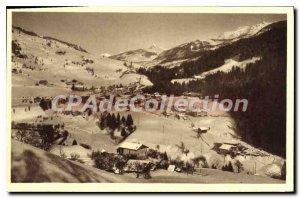 Postcard Old Savoie Flumet winter and Mont Blanc