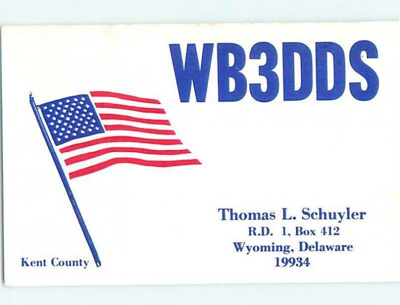 Pre-1980 RADIO CARD - CB HAM OR QSL Wyoming Delaware DE AH2566