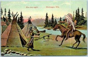 1910s Sheboygan, Wisconsin Postcard Indian Scene Tepee She-Boy-Again Deuss