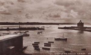 Portush Sunset At The Harbour Real Photo Vintage Irish Ireland Postcard