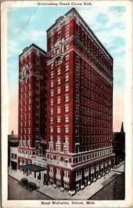 Hotel Wolverine Detroit MI grand circus park ice water highrise vtg Postcard