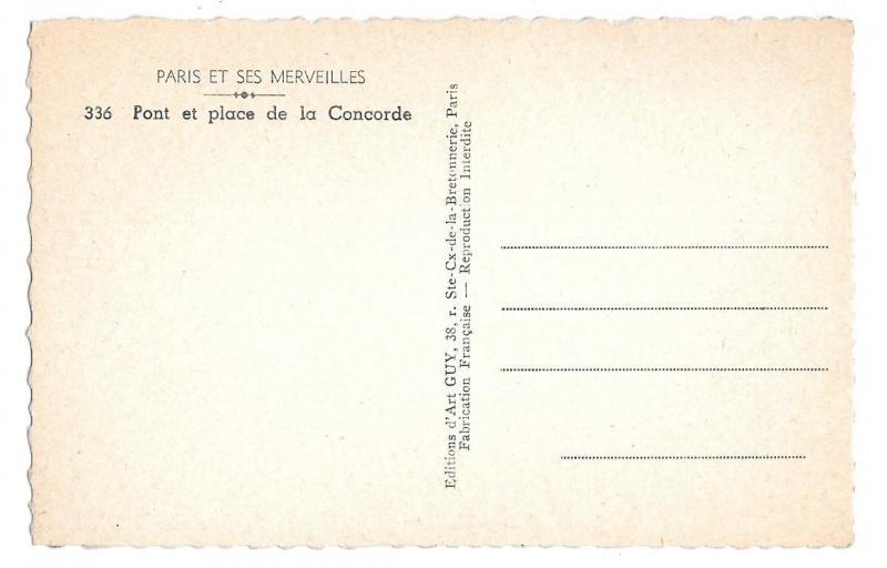 France Paris Pont de la Concorde Cars Autos Bridge GUY Real Photo Postcard