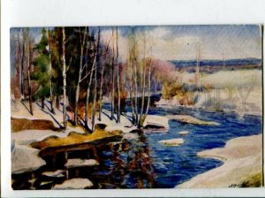 3120130 RUSSIA Rural Early Spring by ORLOV vintage color PC
