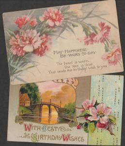 Two Postcards Birthday Wishes Antique Floral