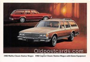 1982 Caprice Classic Station Wagon, Chevy Postcard Post Card 1982 Malibu Cla...