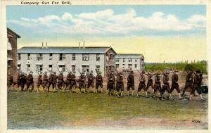 U.S. Military, WWI. U.S. Army, Company Out for a Drill