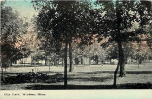 Windom Minnesota~Clearing Past the Trees @ City Park~c1910 Postcard