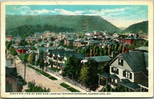 Cumberland, Maryland Postcard Bird's-Eye View of West Side 1917 Cancel