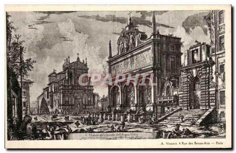 Old Postcard Paris Street Artistic view of Fine Arts