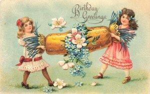 Birthday Greetings Tug of War? Embossed Postcard