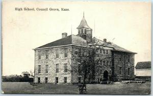 Council Grove, Kansas Postcard HIGH SCHOOL Building Front View w/ 1908 Cancel