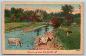 Postcard KY Scenic Greetings From Warsaw Kentucky c1940s Linen AG12