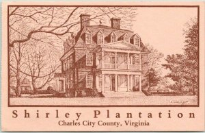 Charles City County, Georgia Postcard SHIRLEY PLANTATION Mansion House View