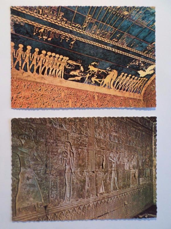 2 ART PC AFRICAOLD EGYPT EGYPTE LUXOR TOMB OF SETY & DEIR EL-MADINA 1960years z1