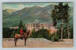Banff AB-Alberta Canada, C P R Banff Springs Hotel, Police, Linen Postcard
