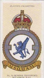 Player Vintage Cigarette Card R A F Badges N0 39 No 70 Bomber Transport Squad...