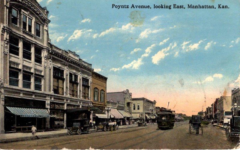 Manhattan, Kansas - Trolley downtown on Poyntz Avenue - c1908