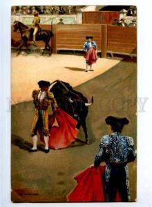 176854 Una Veronica BULL Matador Torero Vintage Color Stengel