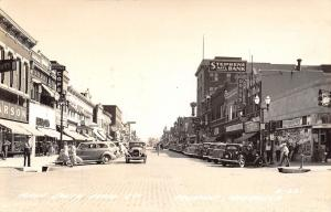 Fremont Nebraska~Main Street~Petrow Cafe~JC Penney~Traffic Cop~1930s Cars~RPPC