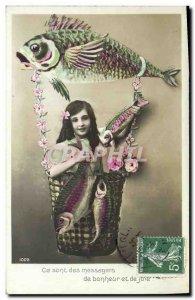 Old Postcard Fun Children Fish